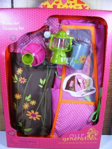 """Our Generation 18"""" Doll Accessories Fit American Girl Polka Dot Camping Set Tent 