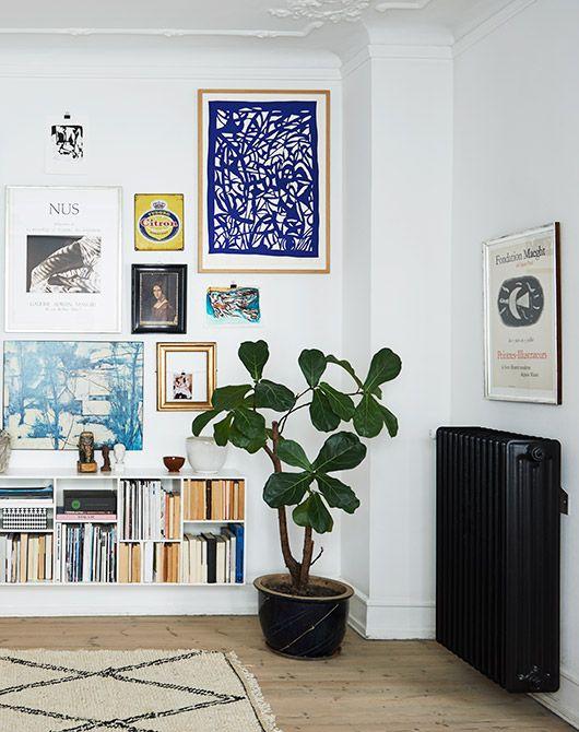 fiddle leaf fig and art gallery wall via the scandinavian home by niki brantmark / sfgirlbybay
