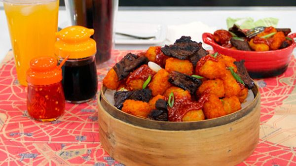We all know how to make good ol' American tater tots, so why not combine them with Korean short ribs? This fusion recipe from James Cunningham's Eat St. Cookbook will be sure to have your taste buds singing! Serves 4...