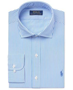 Polo Ralph Lauren Men's Classic-Fit Estate Blue Striped Dress Shirt - Blue 17.5 32/33