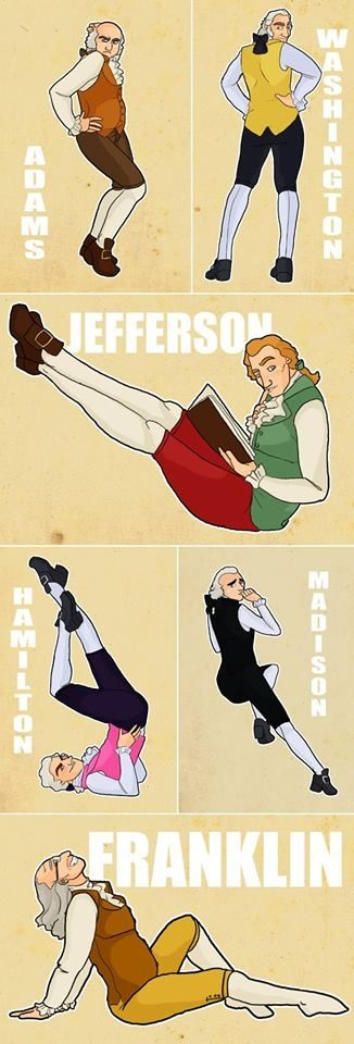 "Have you ever wondered to yourself ""What if the Founding Fathers were pin-up models?"" Well, never fear my friends, I have come to the rescue. You're welcome. Wow they work those pantaloons"