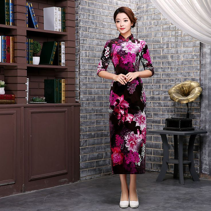 Free shipping china vestidos Velvet Half Sleeve long qipao vintage Cheongsam chinese traditional dress oriental dresses