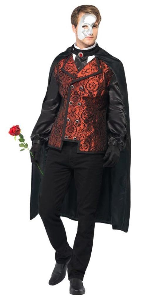 Smiffy's Men's Dark Opera Masquerade Costume with Cape Mock Shirt Mask Gloves and Silk Rose, Red/Black, Medium