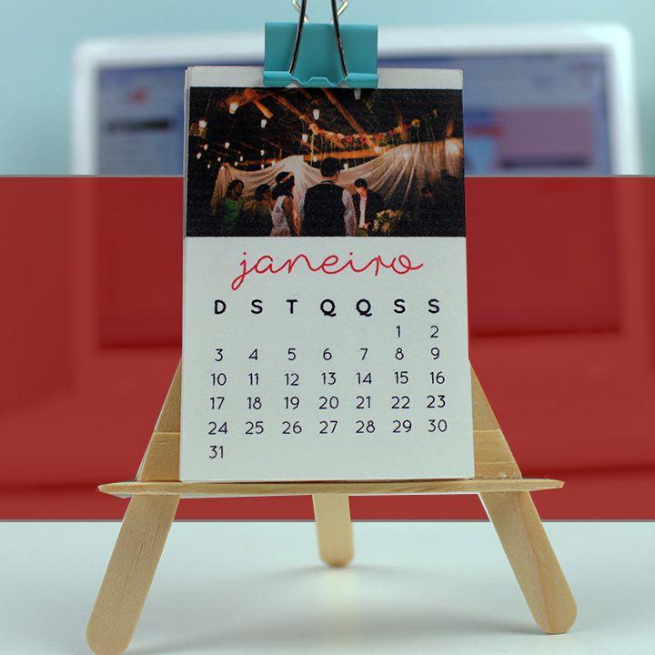 DIY: Mini calendário de mesa com fotos