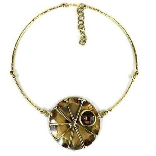 Crystal Sunburst Brass Necklace - Brass Images (N)
