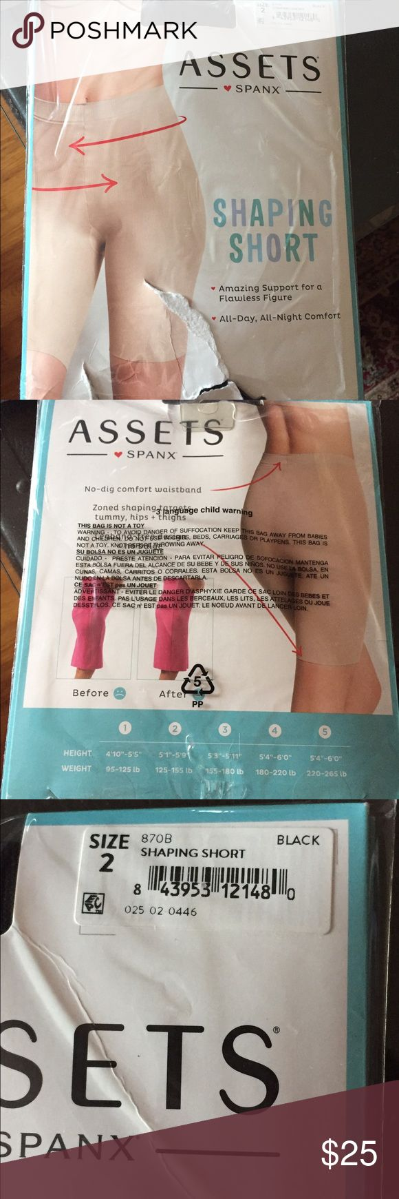 """NWT Spanx Assets shaping shorts! NWT Spanx Assets shaping shorts! Tried on but didn't work out for me. Never actually worn, literally tried on for a few seconds and put right back in package! I love them but I needed a higher waist band. These sit right at belly button. Size 3, 5'3""""-5'11"""", 155lbs-180lbs. SPANX Intimates & Sleepwear Shapewear"""