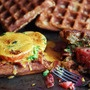 Welsh Rarebit on Beer Waffles with Bacon and Tomatoes. (Basically beer waffle sandwiches)