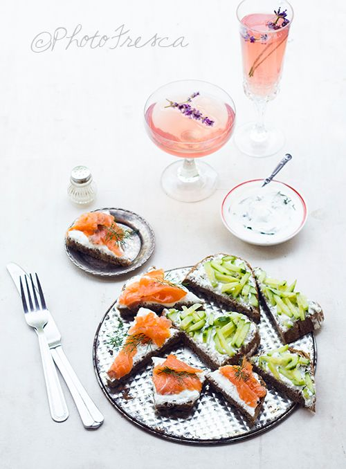 Smoked salmon and cucumber canape Levander champagne © PhotoFresca  #photography #food #styling