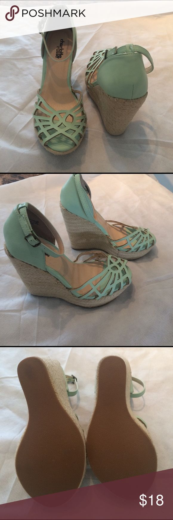 Firm! Charlotte Ruse Mint Peep Toe Wedges Charlotte Russe. Good, used condition. Signs of wear as shown in the photos Charlotte Russe Shoes Wedges