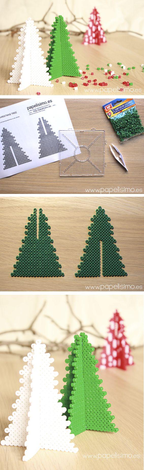 patron como hacer arbol de navidad 3d hama beads