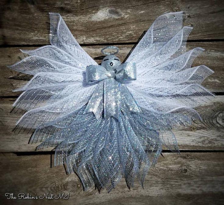 Silver Angel Wreath Grave Decor Platinum Angel Wreath