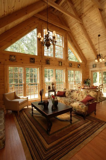 Rockbridge photos southland log homes cabin living for Log cabin window