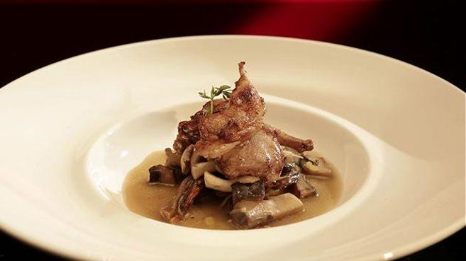 Roast Quail with Mushroom and Thyme Broth
