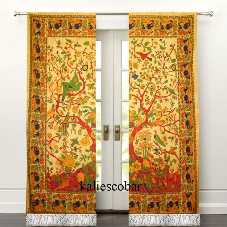 Tree Of Life Curtain Tie Dye Curtains Wall Hanging Curtain With Tassel Valances #Unbranded #Traditional
