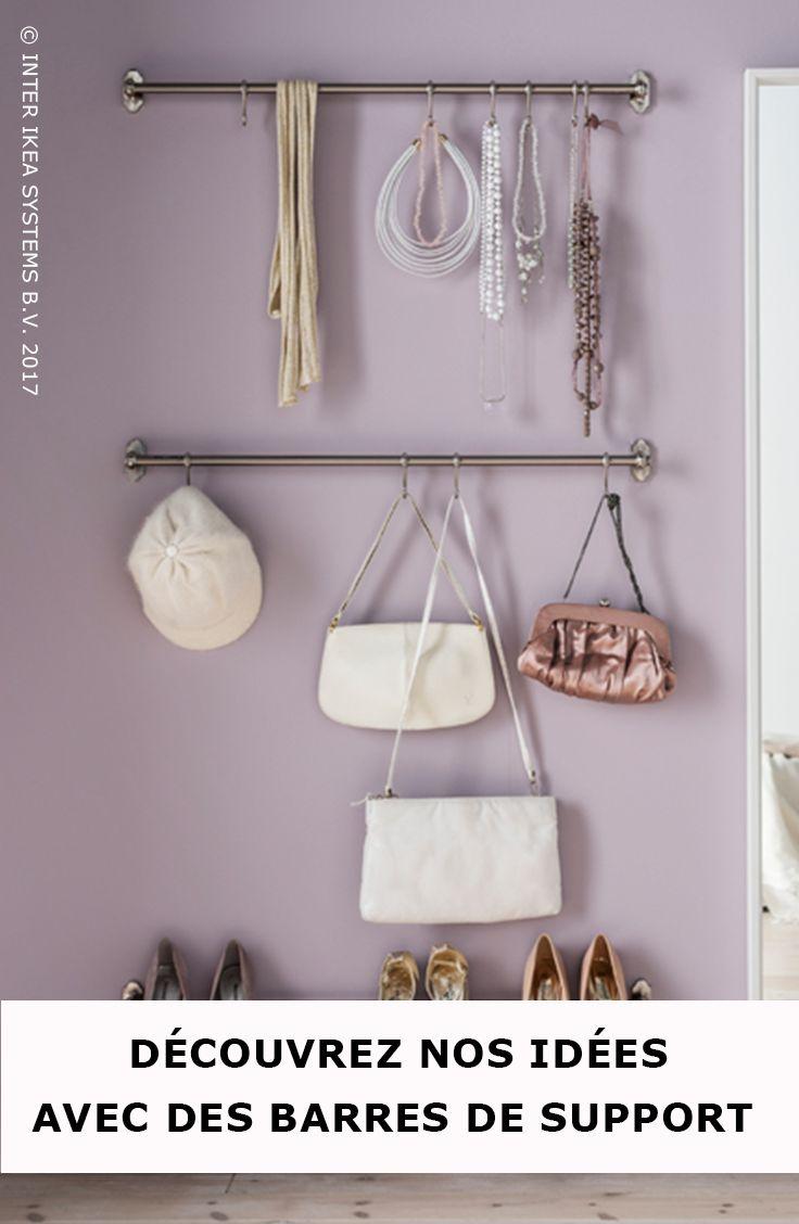 Vous n'avez ni l'espace, ni le budget pour un dressing ? Organisez vos chaussures et accessoires sur des crochets et des barres de support. Découvrez nos idées. Barre support FINTORP, 8,99/pce. #IKEABE #idéeIKEA  Are you a fashion lover with an overflowing closet and you don't have enough budget for a walk-in closet? Use hooks or rails to arrange your shoes. Discover our organizing tips using rails. FINTORP Rail, 8,99/pce. #IKEABE #IKEAidea