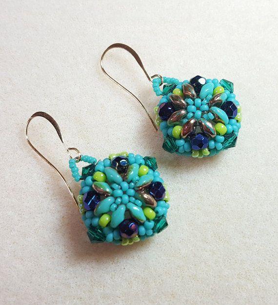 Turquoise earrings, love gift, gift for my love, Valentine gift, Beaded Earrings, Easter gift, Holiday Present, gift for Mom, birthday gift,