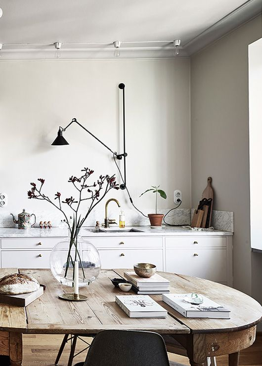 Modern Kitchen With Industrial Black Wall Mounted Light. /  Www.sfgirlbybay.com