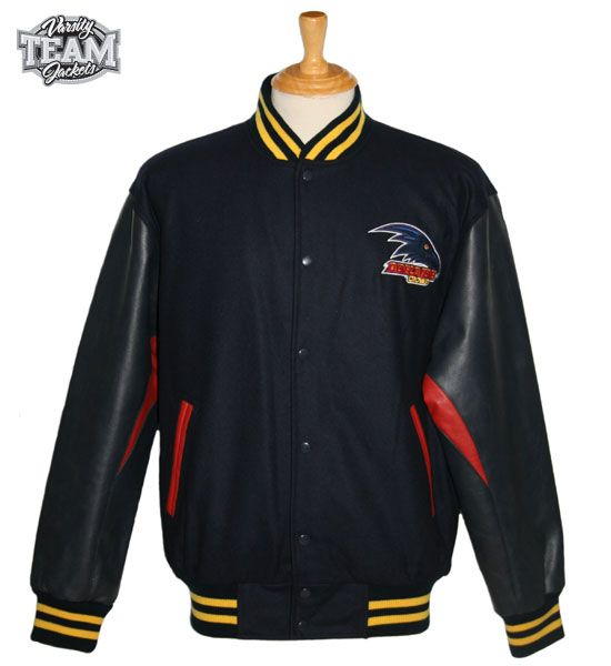 Adelaide Crows AFL wool body and leather sleeves embroidered varsity jacket front by Team Varsity Jackets. www.facebook.com/TeamVarsityJackets www.teamvarsityjackets.com.au
