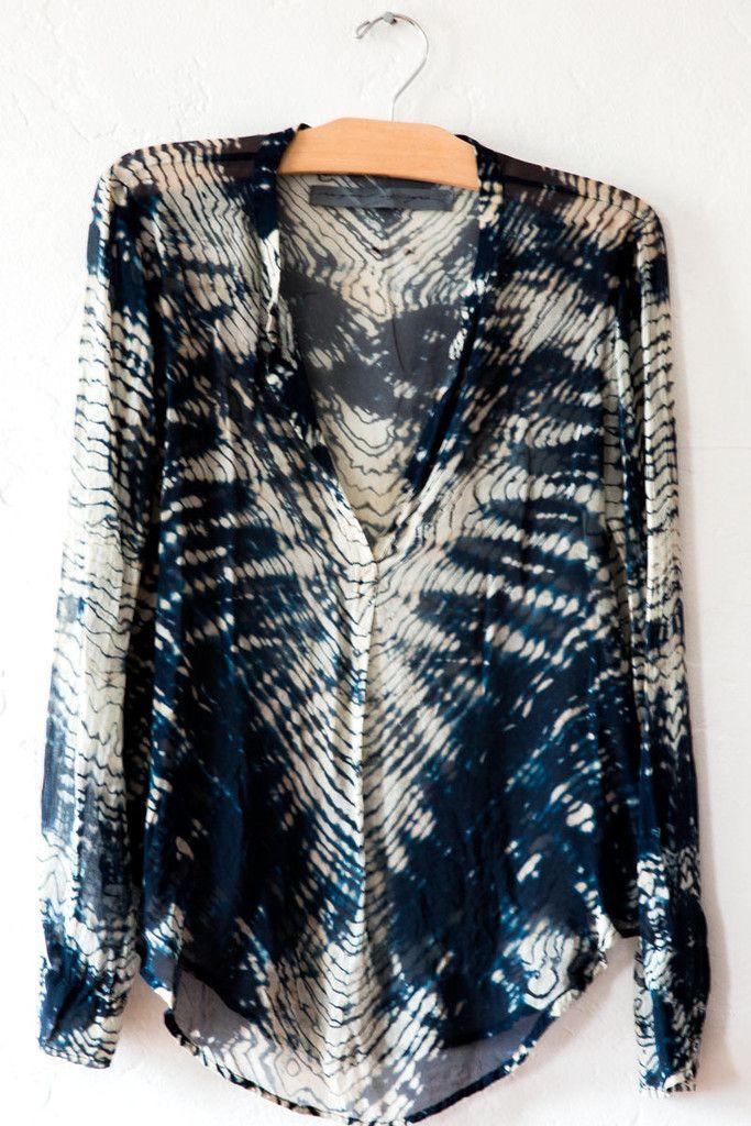 raquel allegra indigo tye dye blouse – Lost & Found