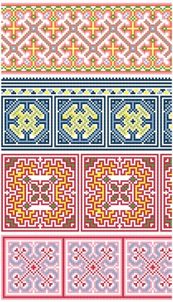 Cross-stitch Decorative Border... no color chart available, just use the pattern chart as your color guide.. or choose your own colors...   Hmong-inspired borders  (cross stitch pattern by black phoebedesigns)