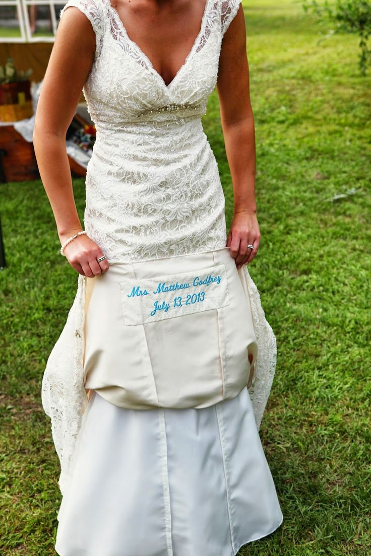Romantic Country Living: Something Blue Embroidered on the Underside of Wedding Gown another great idea to remember the wedding by