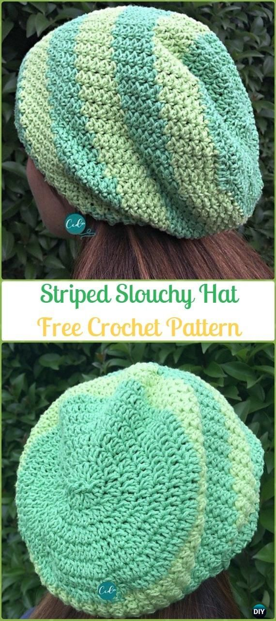 3e098ce2a2d Crochet Striped Slouchy Hat Free Patterns -Crochet Slouchy Beanie Hat Free  Patterns