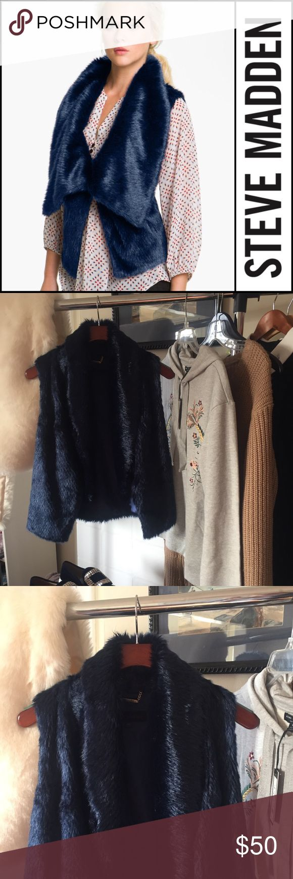| Steve Madden | blue faux fur waistcoat | Take your look from day to night with this special addition—a blue faux fur waistcoat (or vest) from Steve Madden. Wear it open or hooked closed. Only worn once or twice. M. EUC. Steve Madden Jackets & Coats Vests