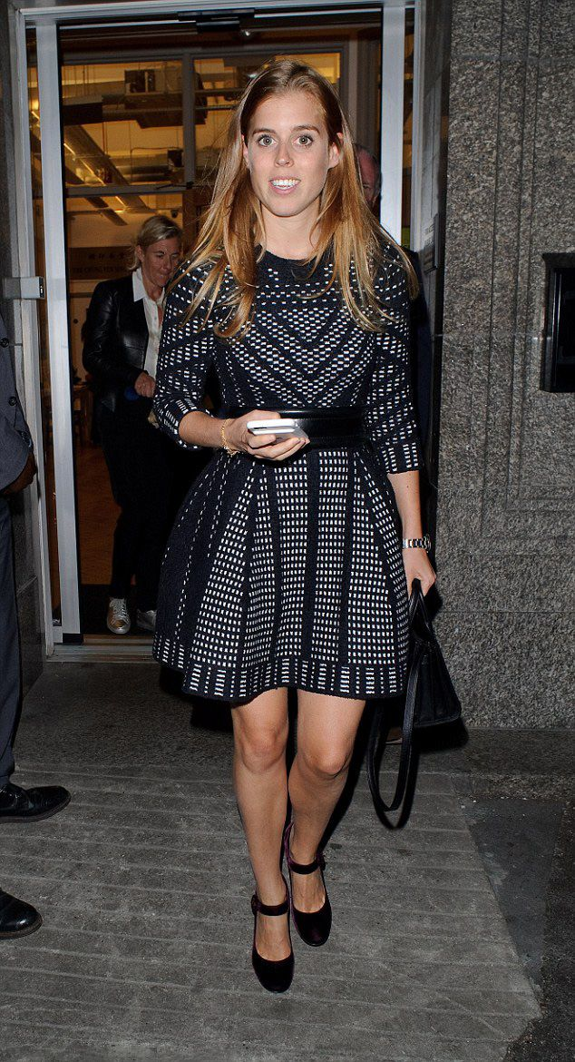 Princess Beatrice, stunned in a funky patterned mini dress as she boosted her height with some velvet heels.