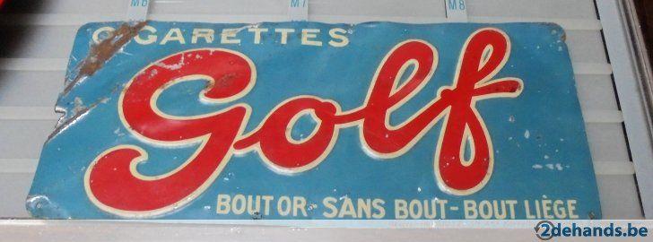 reclame golf cigarettes metaal jaren 30 koek brux
