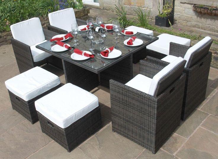 Rattan DELUXE 9 Piece Cube Set Outdoor Garden Furniture Black, Brown or Grey