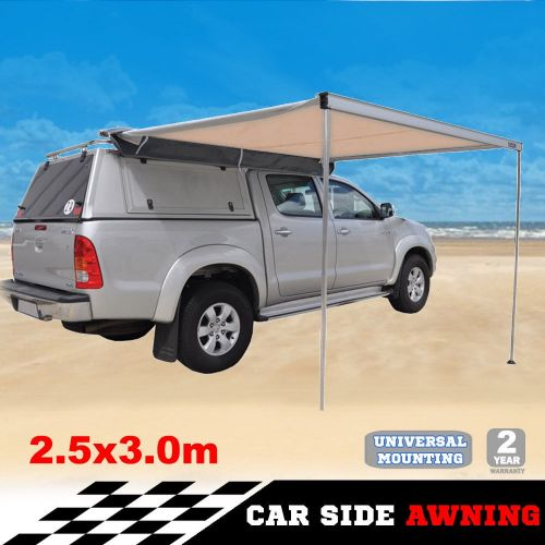 DetailsExtendable Twist Lock Aluminium Poles x 2Extendable side poles with twist lock mechanism x 2Providing loads of shade, our premium 2.5 x 3.0m is 100% Weatherproof and is 1000D Material UV Rated....