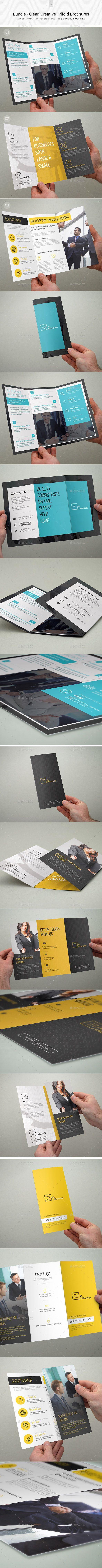 Bundle - Creative Trifold Business Brochures Template #brochure #trifold Download: http://graphicriver.net/item/bundle-creative-trifold-business-brochures-03/11403874?ref=ksioks