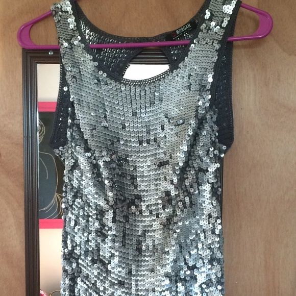 Morgan de Toi sequin knit dress French designer dress, embellished with silver sequins, short banded knit bottom, slightly open back,  sleeveless high collar. Morgan de Toi Dresses