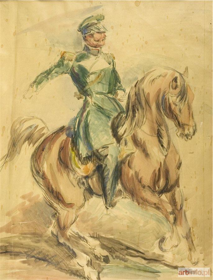 Eugeniusz GEPPERT ● Jeździec na koniu - oficer na koniu ●