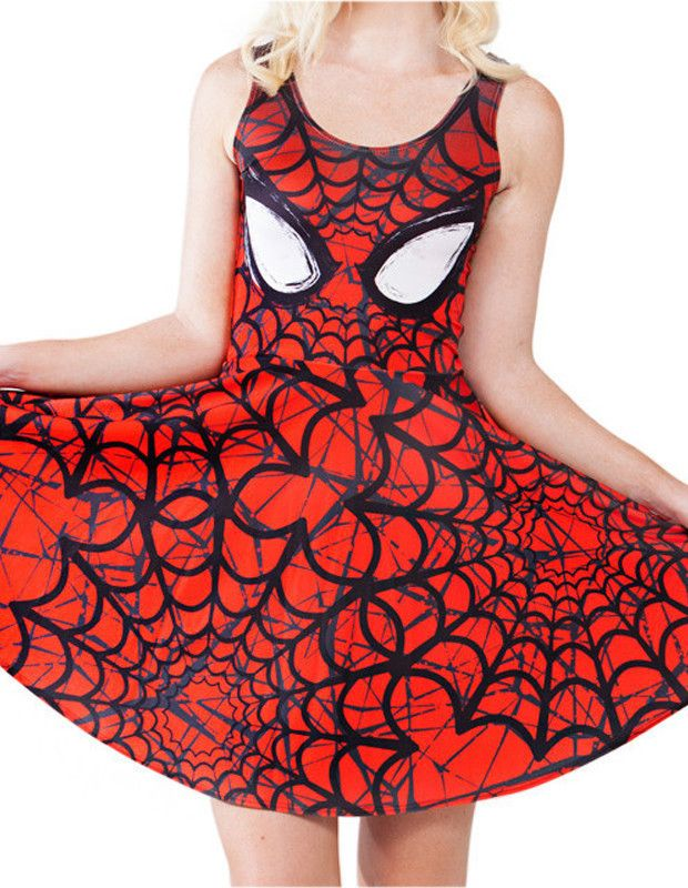 Fashion Red Spider-Man Print Crewneck Sleeveless Womens Dress