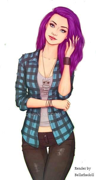Purple haired girl render by Bellathedoll.deviantart.com on @DeviantArt