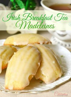 Glazed Irish Breakfast Tea Madeleines - the traditional French cookie get a little Irish tea twist for St. Patrick's Day! At littlemisscelebration.com