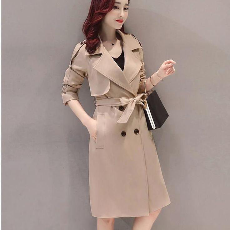 Simple style pure color lapel belt slim long coat