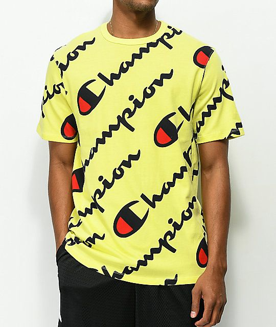 8288f0a7f09e Champion Explode Script Yellow T-Shirt in 2019 | Men's fashion ...