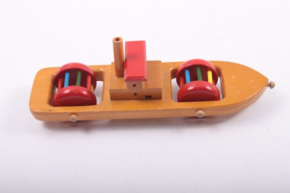 Vintage Wooden Steam Boat Baby Toy Rolling Rattle Ferry Steamship Wood Toy Rolls  The Pink Room  by ThePinkRoom