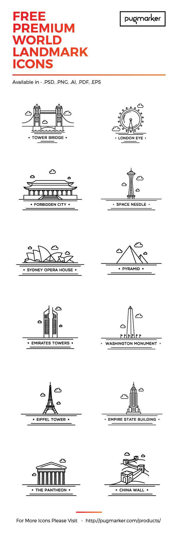 Today we have for you a nice pack of 12 line icons representing some of the most famous landmarks of the world. Big thanks to PugMarker for providing us with this awesome freebie.