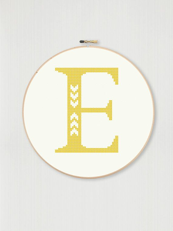 Cross stitch letter E pattern with chevron by LittleHouseBliss