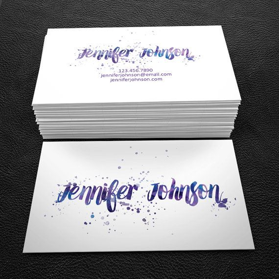 464 best business cards images on pinterest business card design purple watercolor script premade business card by brandi lea designs on etsy https reheart Choice Image