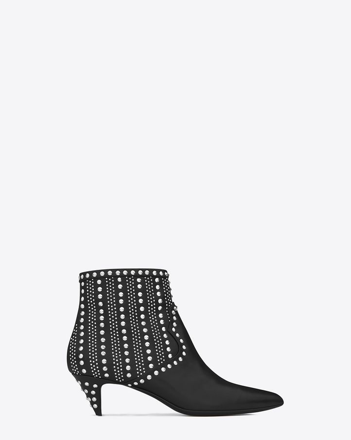 Saint Laurent Cat Boot 50 Studded Western Bootie In Black Leather And Silver Toned Metal Studs - ysl.com