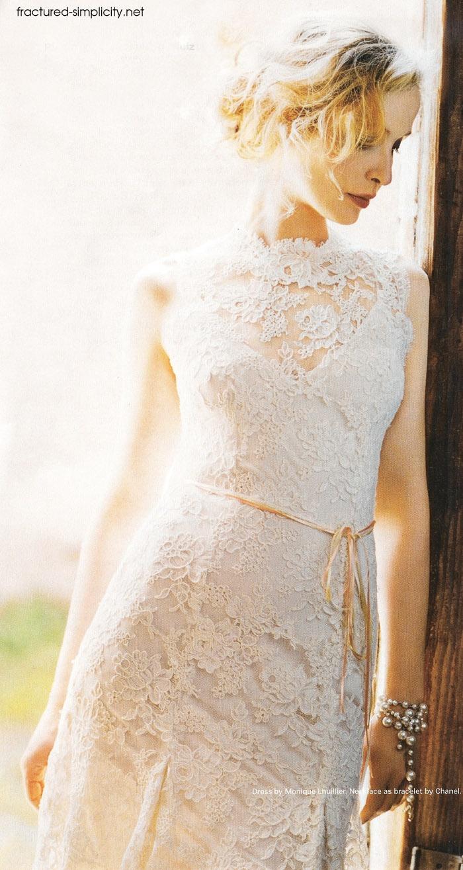 Lace high neck wedding dress