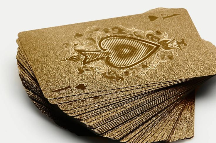 Neo-Utility — Gold Playing Cards — THE LINEEnrich poker night or turn games of go fish to goldfish with these shimmering playing cards from IDEA International of Japan. The standard deck of 52 (plus two jokers) is made of plastic, so they're no match for spills—or a round or two of bathtub solitaire. $15