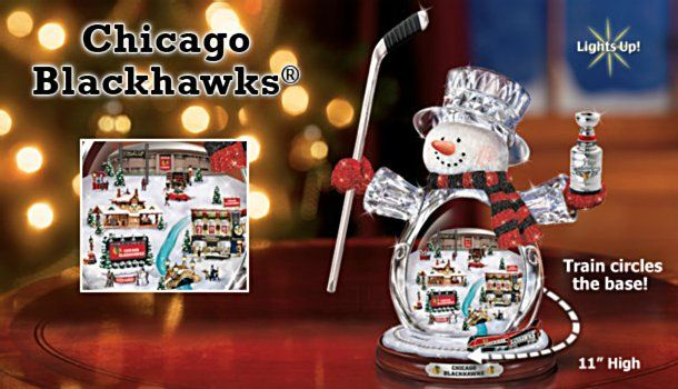 NHL® Chicago Blackhawks® Crystal Snowman Figurine with Moving Train