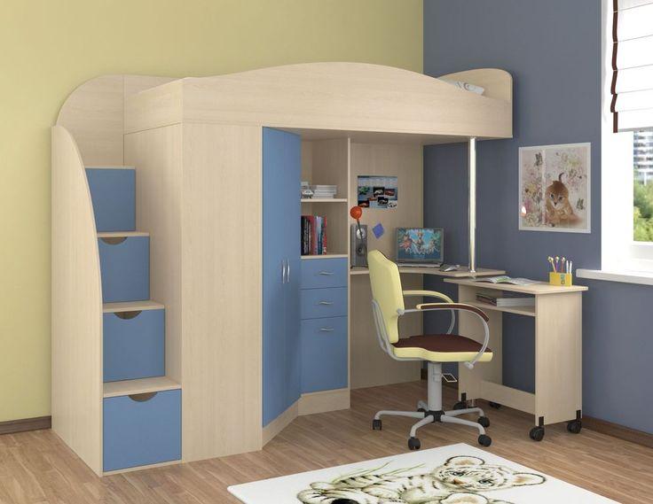 """Кровать-чердак """"Теремок-1 Гранд""""  Кровать чердак Теремок-1 Гранд рассчитана на детей от 3 до 16 лет.    Кровать-чердак Теремок-1 Гранд представляет собой самодостаточный комплекс, включающий в себя зону для сна, шкаф-пенал и полноценный рабочий стол. Прочная конструкция рассчитана на детей от 3 до 16 лет. Такая детская обеспечит разумную экономию пространства в вашем доме и полностью обеспечит выполнение всех многообразных функций детской комнаты. В комплекте лестница–комод с выкатными…"""