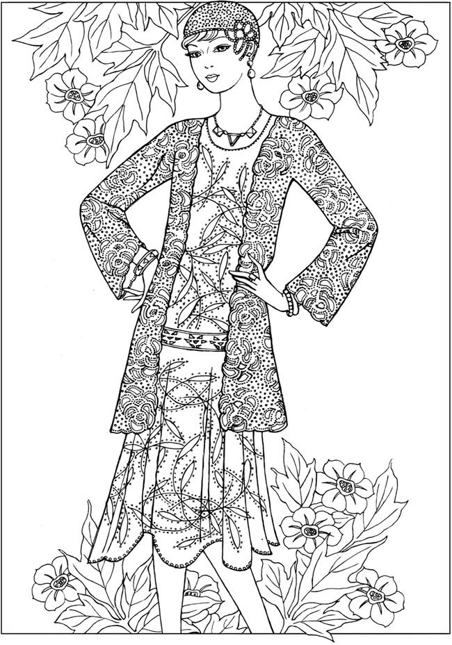 fashion coloring page welcome to dover publications