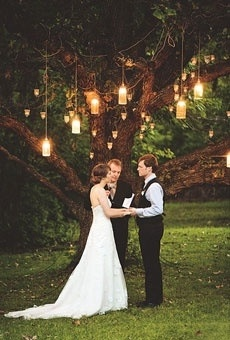 Natural tree and beautiful lights are perfect